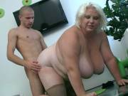 Horny fat blonde bent over for it